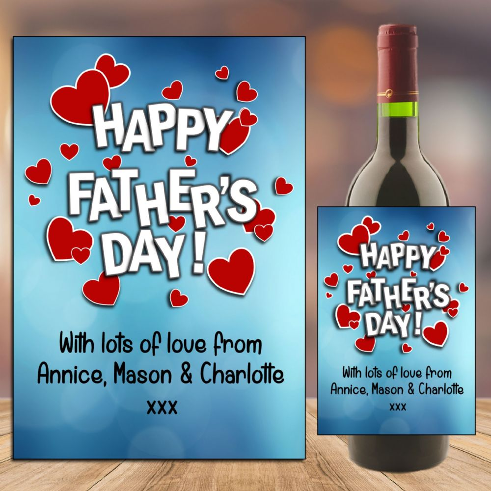 Personalised Happy Fathers Day Dad Wine Champagne Bottle